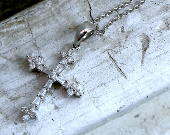RESERVED - Amazing Vintage 14K White Gold Diamond Cross on 16 inch chain - 0.69ct