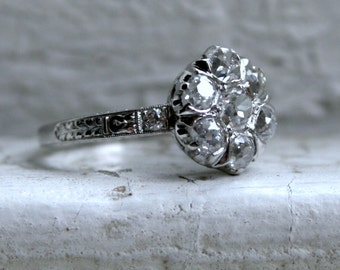 RESERVED - Fabulous Antique 14K White Gold Diamond Cluster Engagement Ring by Lambert Brothers - 1.60ct.
