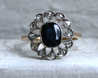 Amazing Vintage 18K Yellow Gold Diamond Halo and Sapphire Ring Engagement Ring - 2.36ct.