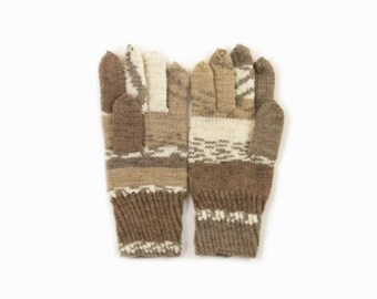 Knitted Men's Gloves , Hand Knitted Unisex Gloves - Beige and Gray, Natural White, Large