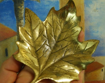 Antique Maple Leaf BRASS ASHTRAY Pin Dish Jewelry Holder