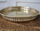 Round brass tray, gallery tray, Hollywood Regency, tray with rails