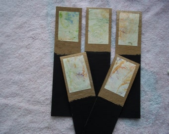 Marbled/chalkboard kraft paper bookmarks, set of 5