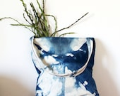 Simple shibori market bag, Indigo dye with folded pattern, natural vegetable dye shopper, canvas and vegan leather bag.Ready to ship