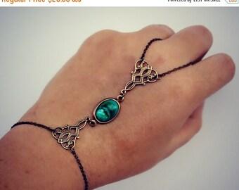 FALL SALE turquoise green slave bracelet, hand chain, filigree bracelet, ring bracelet, slave ring, unique bracelet, pearl ring