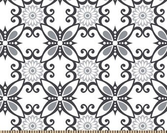 Snuggle Flannel Fabric - Floral Swirl Grey - Sold by the Yard