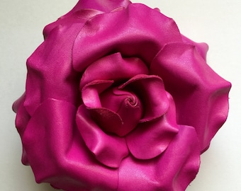 Leather American Rose hair clip in hot pink