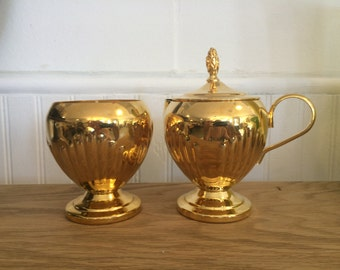 Shiny Gold Sugar and Cream Set