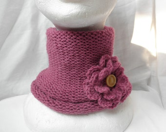 Fucsia  neck warmer,without seam,blend wool,with brooch,accessories,