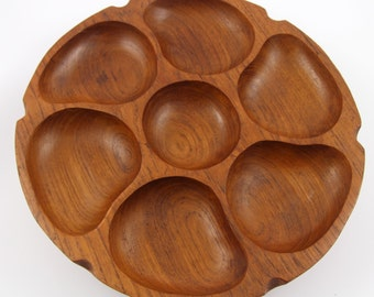 Mid Century Danish Modern Goodwood Teak 7 Sectional Rotating Spinning Snack Tray