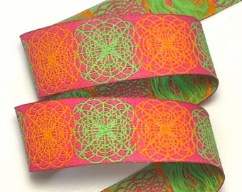 "Woven Jacquard Ribbon Spiral Doodle - 1"" Pink, Green and Orange"