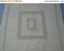 ON SALE On Sale - 1960s Vintage Lemon Tablecloth with Embroidery Pattern and Ric Rac Edge