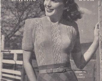 Vintage 1940s - Sunglo Knitting Pattern Series No 89 For Women/Ladies - Original Pattern