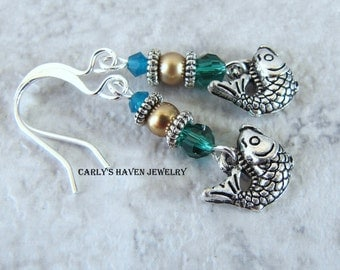 Handmade silver tone fish earrings with blue, and green accents, ready to ship, gifts for women, gifts for mom, gift wrapped, made in MT
