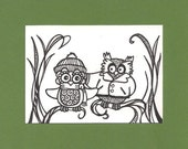 ACEO, Winter Owls, Tree, ATC, Art Trading Card, Original Drawing, Ink, Friends, Different