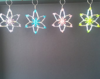 Set of 4 Hand Crafted, pastel colors ornaments/window decor/sun catchers