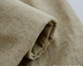 Natural Dark Beige Cotton Linen / Pre washed Twill Natural Fabric/ Upholstery/ Native Cotton Linen- 1/2 yard (QT816)