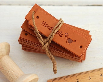 4Pcs Brown PU Leather Sewing Labels for Bags- Love Hanmade, Cartoon Zakka Style, DIY Sewing (T327)