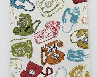 Linen Cotton Fabric, Retro Vintage Phone Pattern, Cotton Linen Fabric - 1/2 yard (QT681)