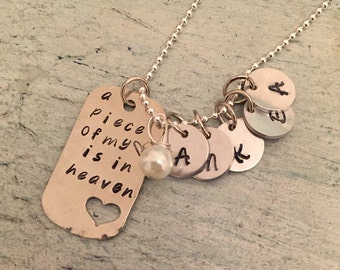 Memorial Necklace. Sympathy Gift. Memorial jewelry. Remembrance jewelry. Miscarriage necklace. A piece of my heart is in heaven. Grief gift