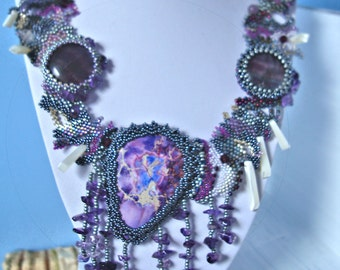 Purple grey beaded collar necklace with agate and fringe