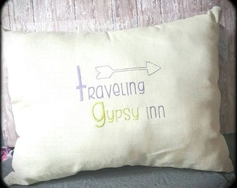 Decorated Pillow, Embroidered, Traveling Gypsy Inn, Western, Aztec Theme, Boho, Gypsy, Decor, Southwest, Junk