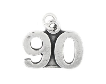 Sterling Silver Large Number 90 Charm Pendant