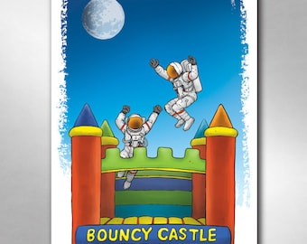 BOUNCY CASTLE ASTRONAUTS Bounce House To The Moon Art Print 11x17 by Rob Ozborne