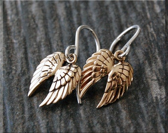 Bronze Angel Wings Earrings. Sterling Silver Feather Dangle Earrings, Wings Earrings, Handmade drop earrings, Double Wing Earrings