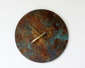 Sale, Wall Clock, Rustic Clock, Blue Patina, Home Decor, Home and Living, Clocks
