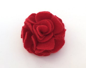 Red  Cashmere Flower Pin/Hair Clip -  Hair Accessory - Repurposed Cashmere - Upcycled Cashmere Brooch - Christmas Red Cashmere Flower