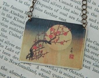 Hiroshige necklace Cherry Blossoms art necklace Japanese Art