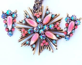 Florenza Orange Rhinestone Glass Pendant Necklace Earring Set