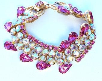 Pink AB Rhinestone Scalloped Bracelet