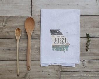 Georgia Home Tea Towel | Vintage License Plate Art | Georgia State Outline Art | Kitchen Decor