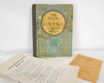 The Book of Courage | 1924 | Inspirational + Religious Quotes | Vintage Ephemera