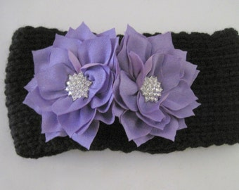 Baby Toddler Black Knit Headband Head Wrap Ear Warmer with Purple Chiffon Flowers with Rhinestone Accents Baby Winter Hats Baby Accessories