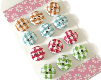12 x Assorted 15mm Wooden Buttons - 15mm 2-hole Buttons - Gingham Design