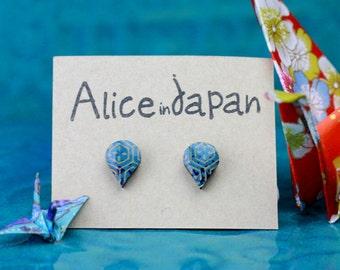 Colourful Earrings - Wood and Fabric Stud Earrings