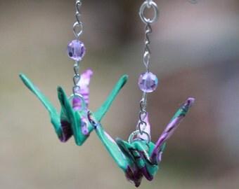 Sterling Silver Earrings Aqua Bird Jewelry: origami crane washi paper jewelry