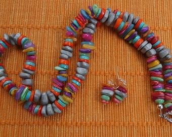 26 Inch Matt Hematite and Colorful MOP Necklace with Earrings