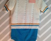 vintage deadstock two piece knit sweater set for baby infant toddler by hudson's detroit size 2-3 years