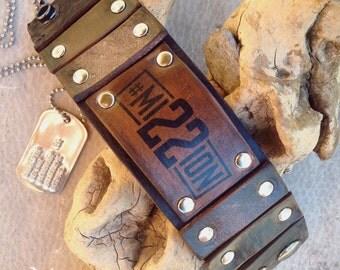 Rustic Leather Wristband, Mission22, Veteran Wristband