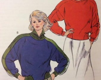 Pattern for Misses' Long Sleeve Tops Sweatshirts UNCUT Kwik Sew Kwik Serge 1684 Size XS S M L