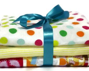 Baby burp cloths- flannel burp cloths- boy burp cloths- girl burp cloths- gender neutral baby- baby gift set- baby layette- rainbow colors