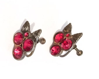 Art Deco Red Rhinestone Silver Leaf Screwback Earrings, 1930s Vintage Jewelry, SUMMER SALE