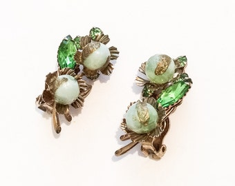 Green Lucite w Rhinestone Earrings, 1940s Vintage Jewelry, Gift for Her SPRING SALE  Mother's Day