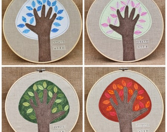 PERSONALIZED grandparents gift, Child's Handprint Art, Handprint Tree, Embroidery Hoop Art, 10 inches, SET of all FOUR Seasons