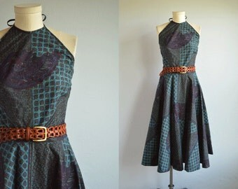 Vintage 1950s Halter Dress / 50s Ethnic Batik Hawaiian Print Summer Dress with Circle Skirt