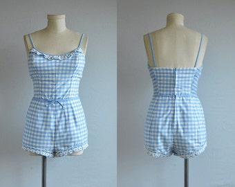 Vintage 60s Swimsuit / 1960s Jantzen Blue White Gingham Check One Piece Bathing Suit Play Suit with Eyelet Lace